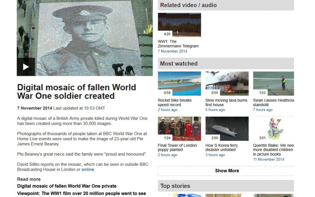 Digital mosaic of fallen World War One soldier created | BBC | 2014