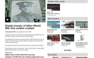 Digital mosaic of fallen World War One soldier created | BBC | 2014