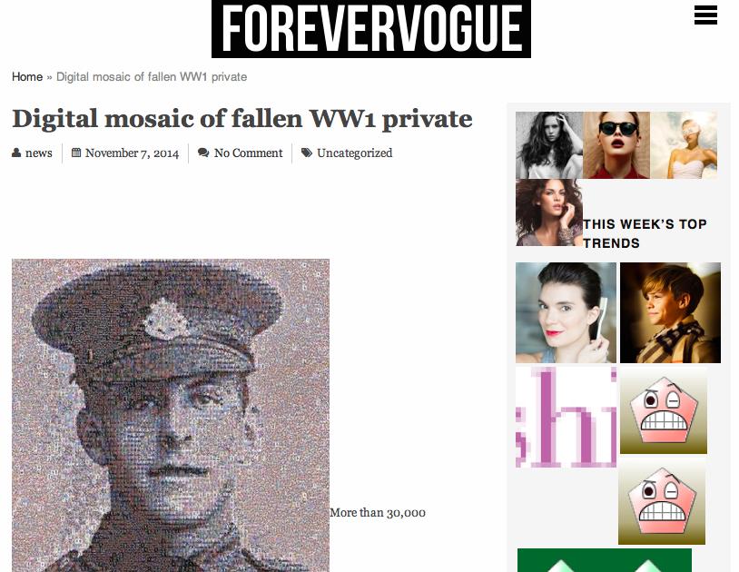 Digital mosaic of fallen WW1 private | Forevervogue | 2014