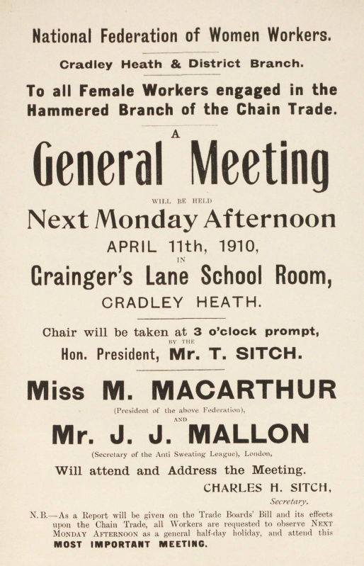 Women Chainmakers called to a meeting in 1910 - Image Credit: Friends of the Women Chainmakers