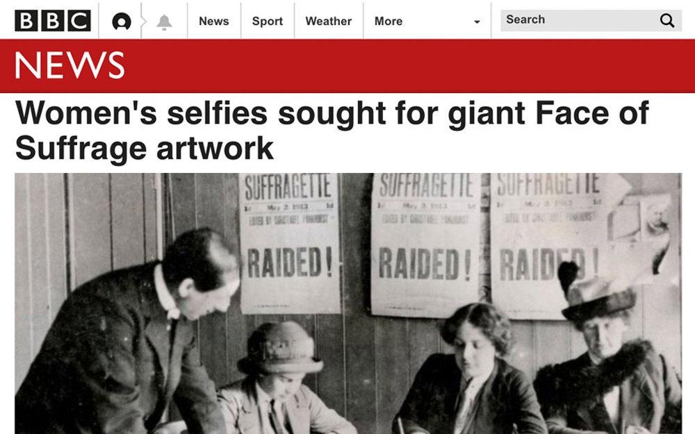 Women's selfies sought for giant Face of Suffrage artwork | BBC News | 2018