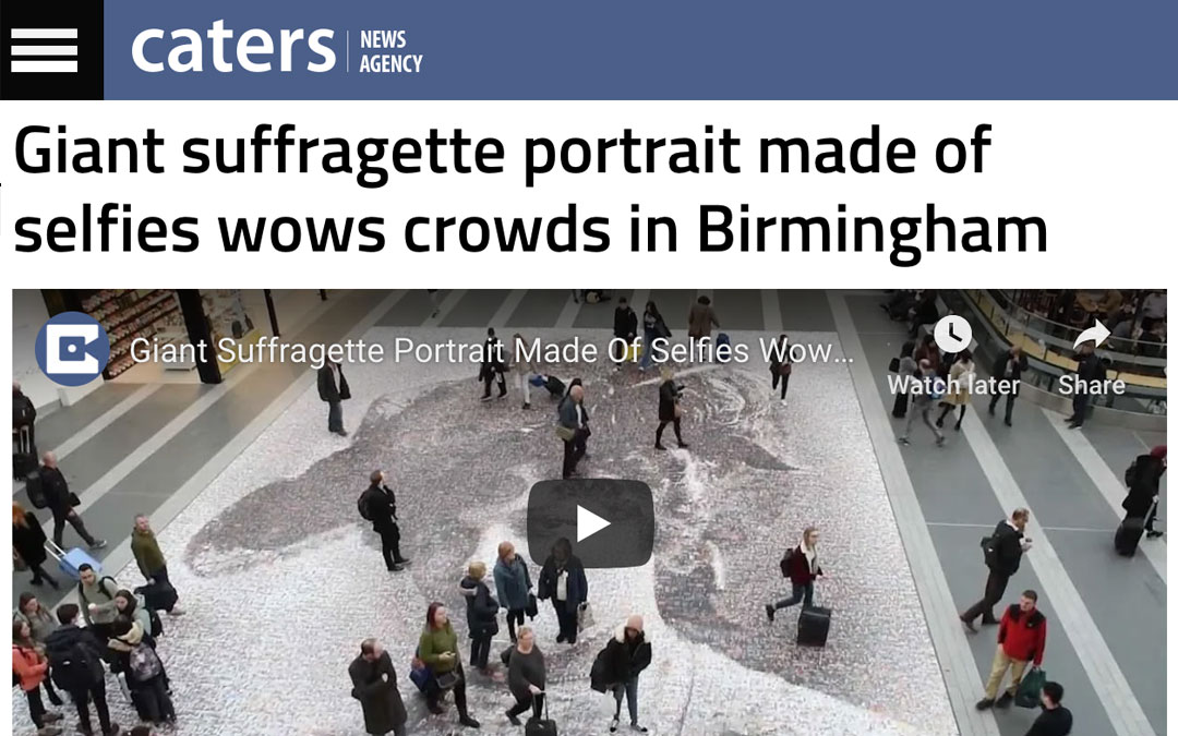 Giant suffragette portrait made of selfies wows crowds in Birmingham | Caters News | 2018