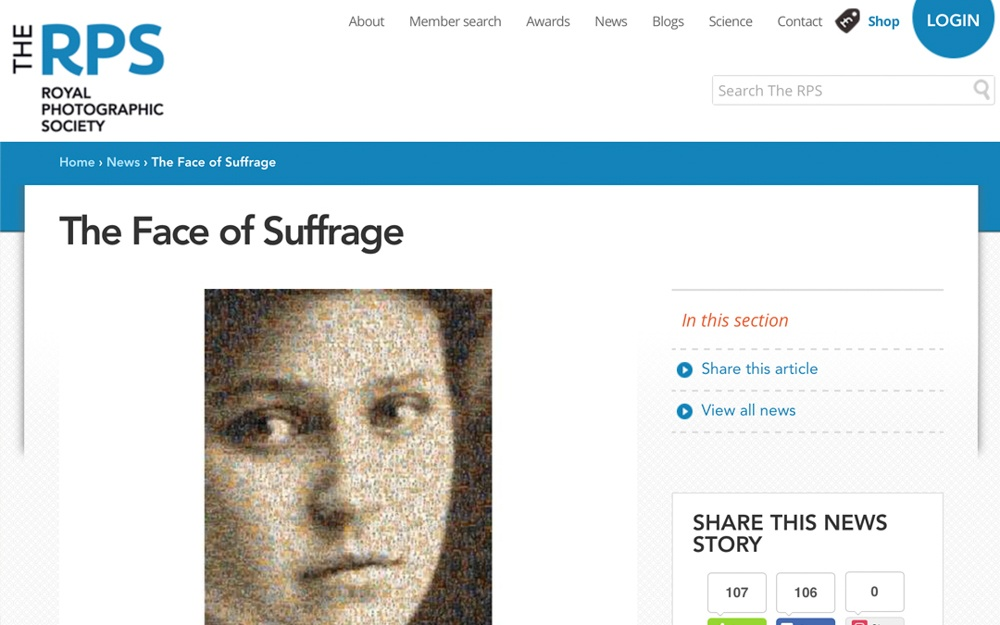 The Face of Suffrage | Royal Photographic Society | 2018