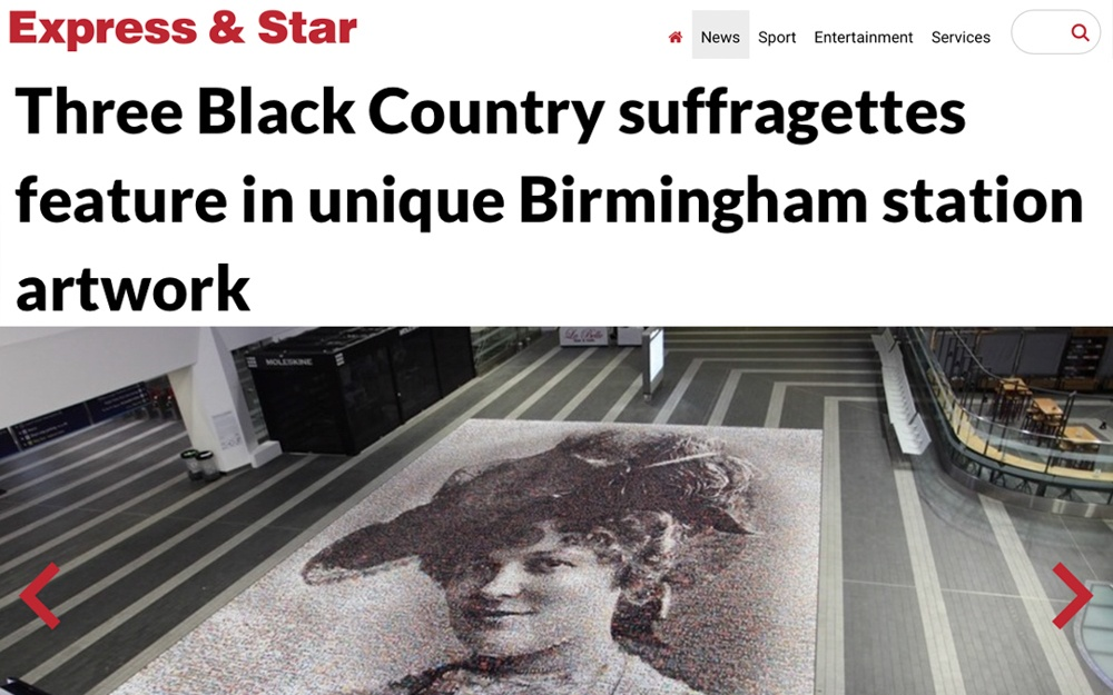 Three Black Country suffragettes feature in unique Birmingham station artwork | Express & Star | 2018