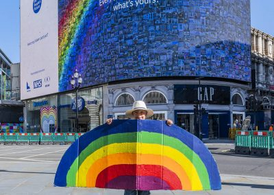 The People's Picture' interactive mosaic art project Rainbows for the NHS launched at London Piccadilly Lights.
